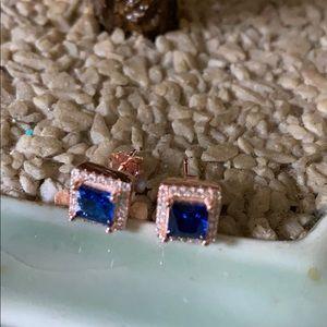 Vintage 925 natural sapphire &topaz stud earrings